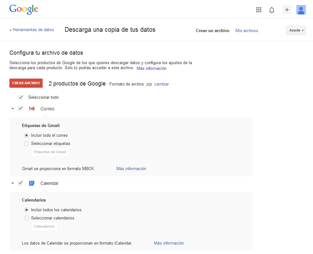 Haciendo una copia de seguridad de Gmail