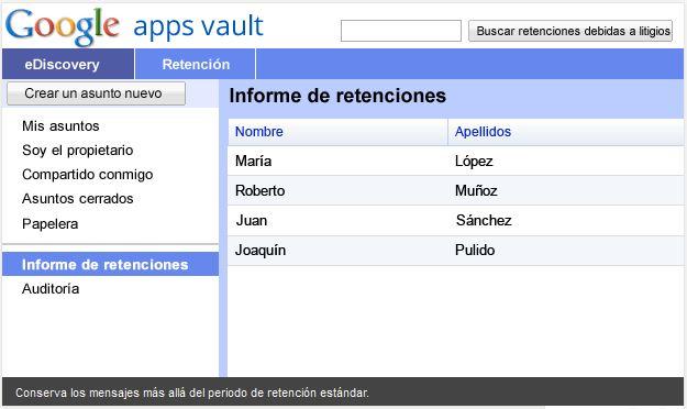 Google apps vault
