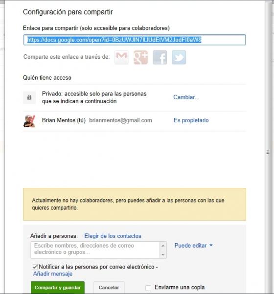 Compartir archivo con Google Drive