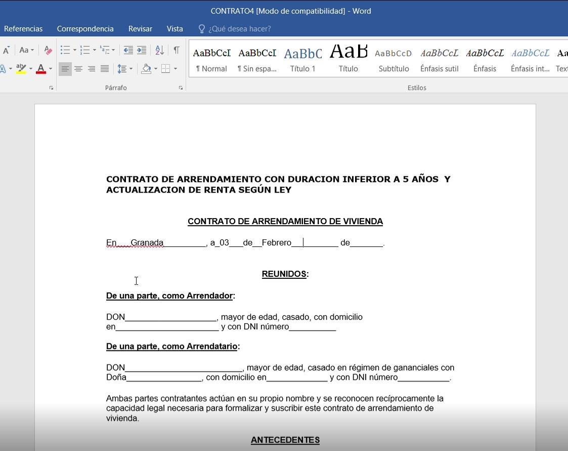 Edición de documentos con Word en nubbius